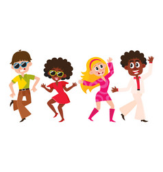 People men and women dancing at retro disco vector