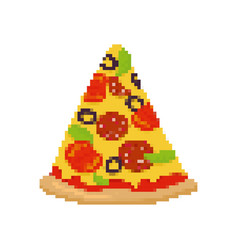 pizza pixel art piece of pizza is pixelated fast vector image