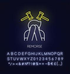 Remorse neon light icon vector