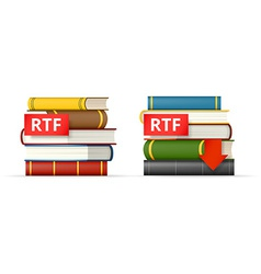 RTF books stacks icons vector image