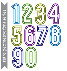 Sans serif geometric numbers colored smooth tall vector
