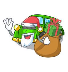 Santa with gift classic car toys in cartoon shape vector