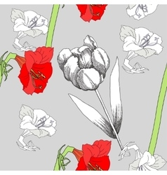 Seamless pattern with amaryllis and flowers-03 vector