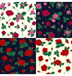 Set floral seamless patterns with roses vector