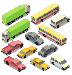 set of isometric urban transportation cars vector image