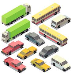 Set of isometric urban transportation cars vector