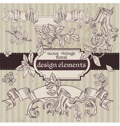 set vintage magic fairytale floral design vector image