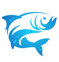 silhouette of fish with water drops vector image