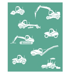 Silhouette of road machinery vector