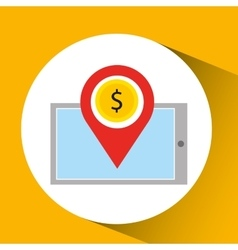 Smartphone e-commerce dollar money pin vector