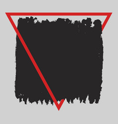 square grunge black painted blot in red vector image