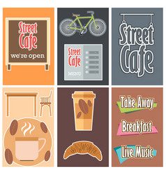 street cafe signboards set vector image
