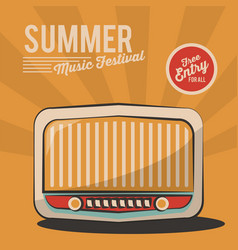 summer music festival radio vintage poster vector image