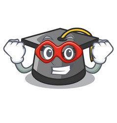 super hero graduation hat character cartoon vector image