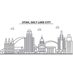 Utah salt lake city architecture line skyline vector