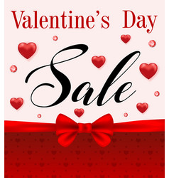 valentines day sale with red hearts vector image
