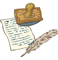 Vintage handwritten page with quill pen and vector