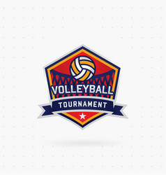 Volleyball tournament logo with ball vector