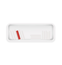 white bookshelf books collection with one red vector image