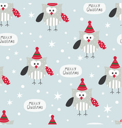 winter seamless pattern with cute owls vector image