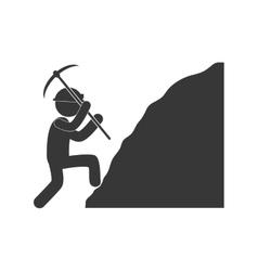Worker mining pickaxe rock figure pictogram vector
