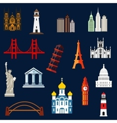World travel landmarks flat icons vector