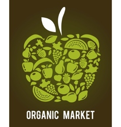 apple with fruits and vegetables pattern vector image vector image