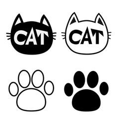 black cat head face contour silhouette icon set vector image vector image