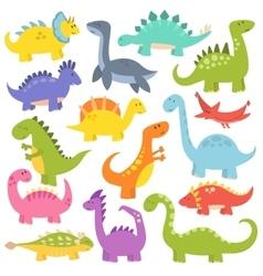 Cartoon cute dinosaurs vector image