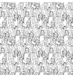 Crowd happy children black and white seamless vector image