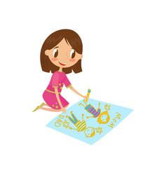 cute little girl sitting on the floor and drawing vector image