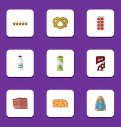 Flat icon eating set of beef bottle canned vector