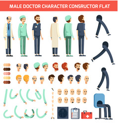 male doctor character constructor flat vector image vector image
