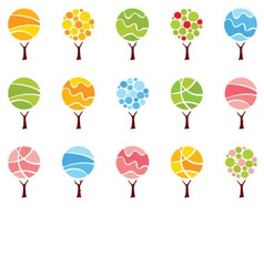 Set abstract trees -seasons vector image