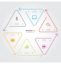 Triangle arrow line infographic on white vector