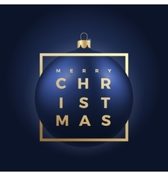 Blue Christmas Ball on Dark Background with Golden vector image vector image
