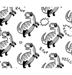 cartoon dinosaurs seamless pattern for kid in vector image vector image