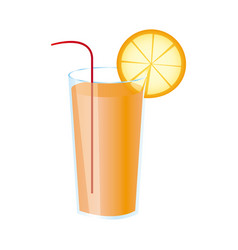 colorful realistic orange freshness drink cocktail vector image