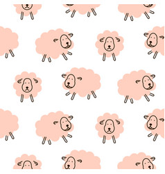 Cute sheeps girlish baby seamless pattern vector