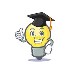 Graduation light bulb character cartoon vector