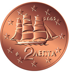 greek money bronze coin two euro cent vector image vector image