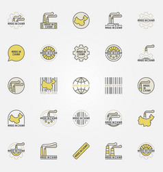 made in china colorful icons vector image vector image