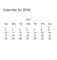 modern calendar for april 2016 vector image vector image