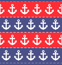 seamless anchor pattern blue and red stripes vector image vector image