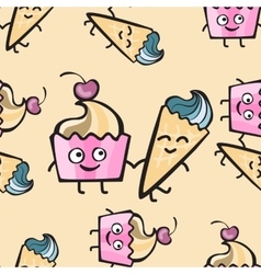 Friendly cheerful seamless pattern with hand drawn vector