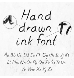 Hand-drawn dirty ink grunge font with alphabet on vector image