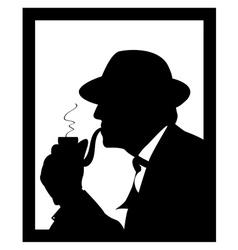 man smoking a pipe vector image