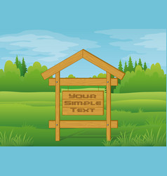 wood sign in summer forest vector image vector image