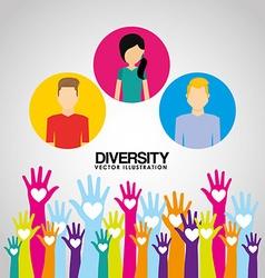 diversity hands design vector image vector image