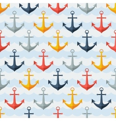 Nautical seamless pattern with anchors in flat vector image vector image